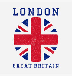 London typography with great britain flag vector