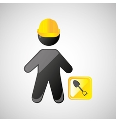 man silhouette helmet and shovel design graphic vector image