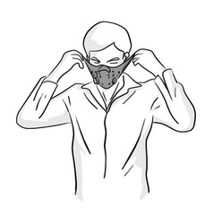 man wearing mask sketch doodle hand vector image