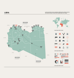 Map libya high detailed country map vector