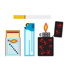 matches cigarette and two lighters flat style vector image