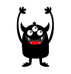 Monster black silhouette icon three eyes teeth vector