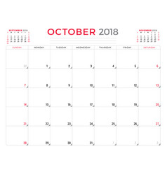 October 2018 calendar planner design template vector
