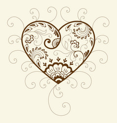 Of mehndi heart ornament traditional vector