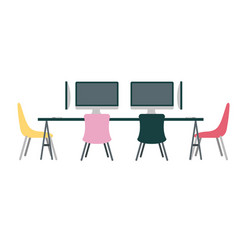 office workplace meeting room escene icon vector image