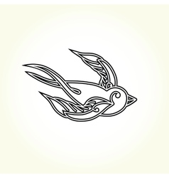 Old school swallow bird tattoo vector
