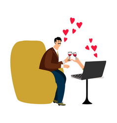online dating happy man and vector image