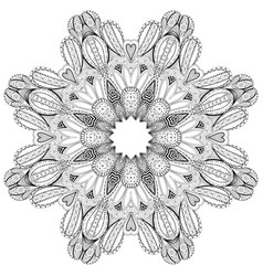 ornamental round lace for coloring book and page vector image