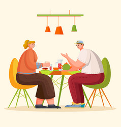 people eating and talking on kitchen or in cafe vector image