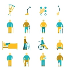 People With Disabilities Icons Set vector