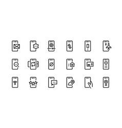 phone line icons mobile device notification and vector image