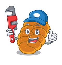Plumber challah mascot cartoon style vector