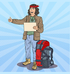 pop art smiling hitchhiking man with backpack vector image