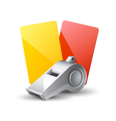 realistic referee whistle red yellow cards vector image