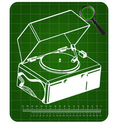 record player on a green background vector image