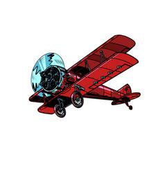 retro biplane aircraft vector image