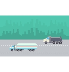 Road tanker and dump truck landscape vector