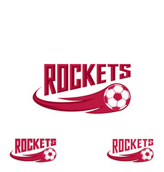 rocket flootball logo for the team and the cup vector image