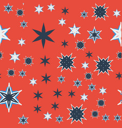 Seamless texture orange stylized flowers and stars vector