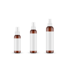 Set amber cosmetic spray bottles with labels vector