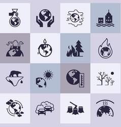 Set of icons on the theme of ecology vector