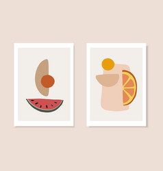 Set summer artistic greeting cards invitations vector