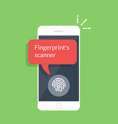 smartphone unlocked with fingerprint button vector image