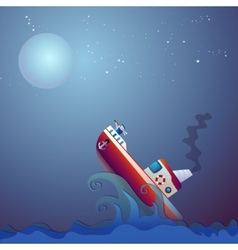 Steamship the storm ocean vector image