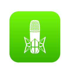 studio microphone icon green vector image