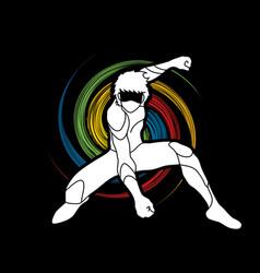 Superhero landing action cartoon vector