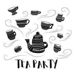 tea party bw vector image
