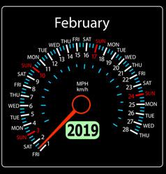 the 2019 year calendar speedometer car february vector image