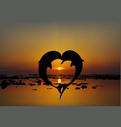 two lovers dolphins in heart shape at sunset vector image