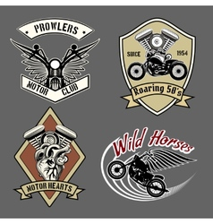 Vintage motorcycle labels vector