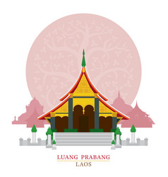 Wat xieng thong luang prabang laos with vector