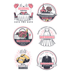 Wedding ceremony celebration retro icon design vector