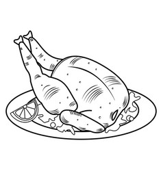 Whole fried chicken roasted chicken vector