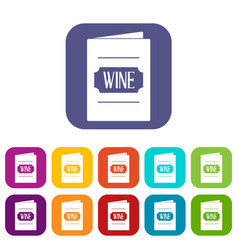 Wine list icons set flat vector