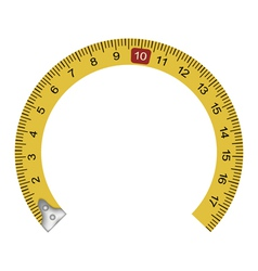 Yellow measuring tape in the shape of a horseshoe vector image