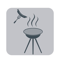 Barbecue sausage icon on gray background vector