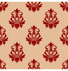 Beige and maroon floral seamless pattern vector image vector image