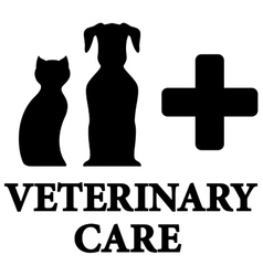 black veterinary care icon with pet cross vector image vector image