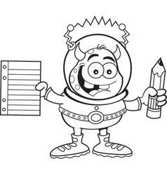 Cartoon alien holding a paper and pencil vector image vector image