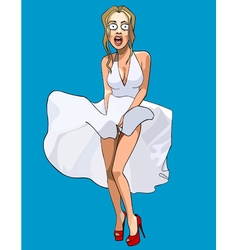 cartoon funny surprised woman with her skirt vector image