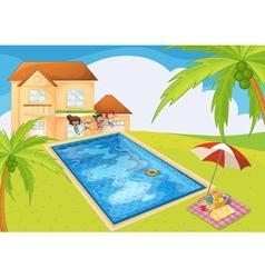 Cartoon House Kids vector image