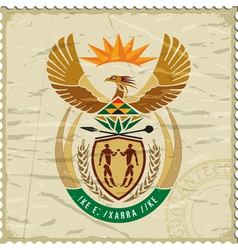 Coat of arms of South Africa on postage stamp vector image vector image