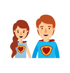 Colorful caricature half body young couple female vector