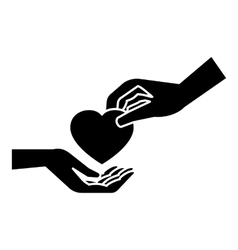 Hand gives heart icon simple style vector image vector image
