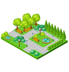 isometric spring park landscape concept vector image