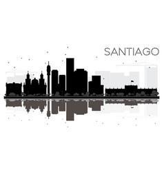 santiago city skyline black and white silhouette vector image